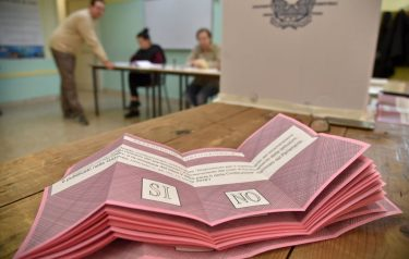 A picture shows ballots in a polling station during a referendum on constitutional reforms, on December 4, 2016 in Rome. Italians began voting today in a constitutional referendum on which reformist Prime Minister Matteo Renzi has staked his future. Italy's has had 60 different governments since the constitution was approved in 1948. / AFP / Andreas SOLARO        (Photo credit should read ANDREAS SOLARO/AFP via Getty Images)