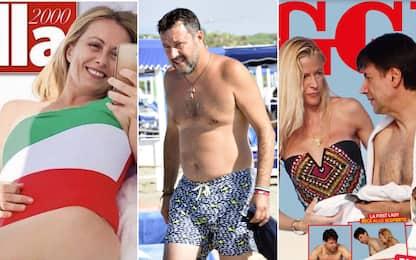 Politici al mare, da Meloni in costume tricolore a Salvini. FOTO