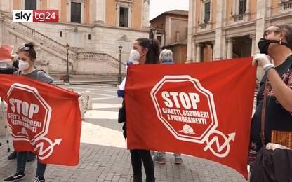 Roma, protesta dei movimenti per il diritto all'abitare. VIDEO