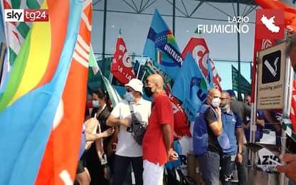 Crisi trasporto aereo: manifestazione in aeroporto a Fiumicino. VIDEO
