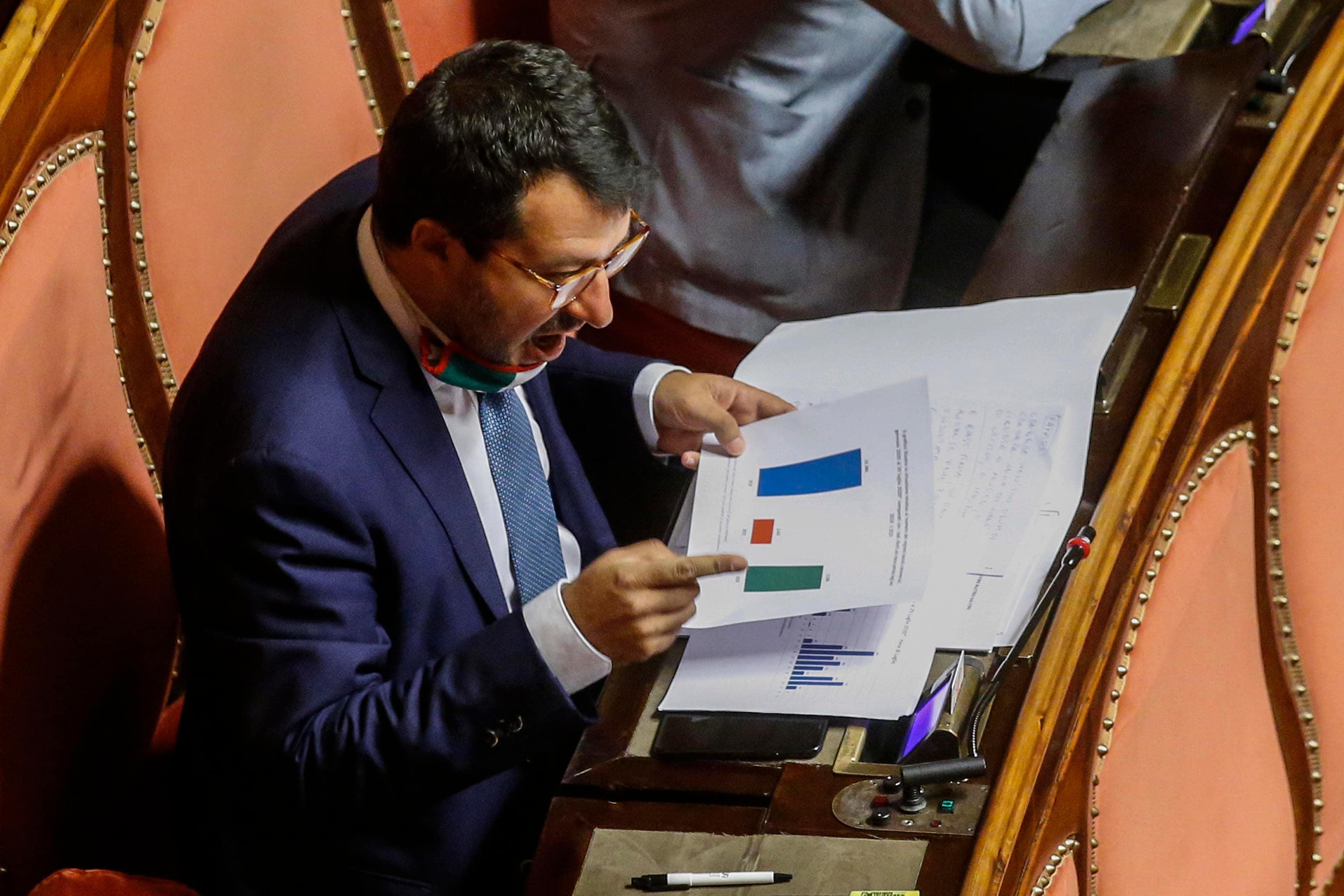 Il leader della Lega, Matteo Salvini nell'aula del Senato nel giorno del voto sull'autorizzazione a procedere per la vicenda Open Arms, Roma 30 luglio 2020. ANSA/FABIO FRUSTACI