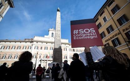 Covid Roma, protesta dei lavoratori del settore Congressi e Convegni