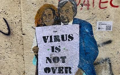 """Roma, nuova opera di Tvboy con Burioni e Capua: """"Virus is not over"""""""