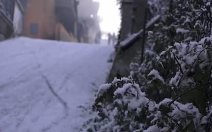 Maltempo in Piemonte, neve nelle valli del Verbano Cusio Ossola