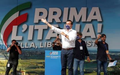 """A Roma la manifestazione della Lega, Salvini: """"Centrodestra si unisca"""""""