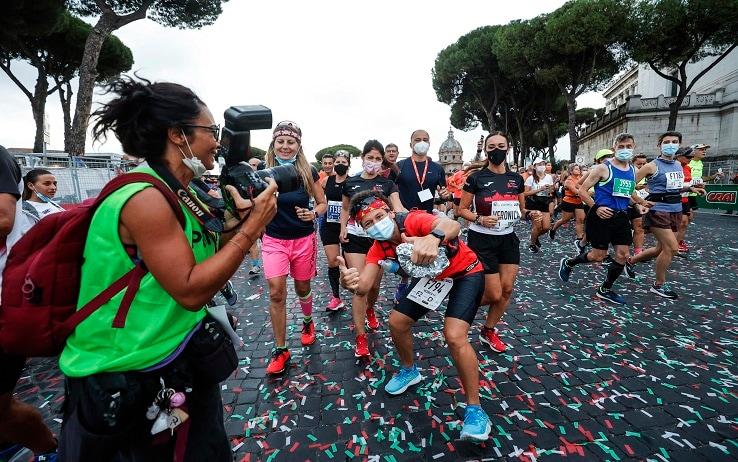Mayor of Rome Virginia Raggi participate in the Run Rome Marathon, near the Colosseum in the centre of Rome, Italy, 19 September 2021. ANSA/GIUSEPPE LAMI