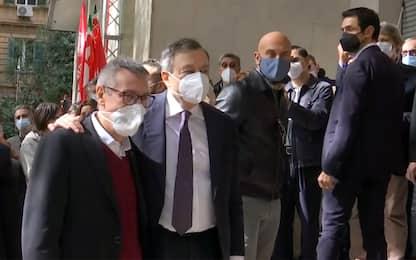 Draghi incontra Landini alla Cgil di Roma dopo l'assalto No Green Pass
