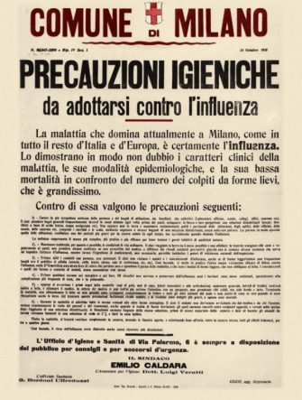 About the Spanish flu epidemic of 1918, manifesto posted by the City of Milan to deal with the serious outbreak which had attacked the population already weakened by the hardships of war. The long list of preventive measures bears the signature of the Mayor Emilio Caldara. Typographic poster, Italy, Milan 1918. (Photo by Fototeca Gilardi/Getty Images)