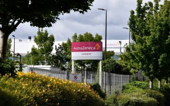 A sign is pictured outside the AstraZeneca factory in Liverpool north west England on July 20, 2020. - Britain's government has already said it would purchase 100 million doses of a vaccine currently being trialed by Oxford University in partnership with AstraZeneca. (Photo by Paul ELLIS / AFP) (Photo by PAUL ELLIS/AFP via Getty Images)