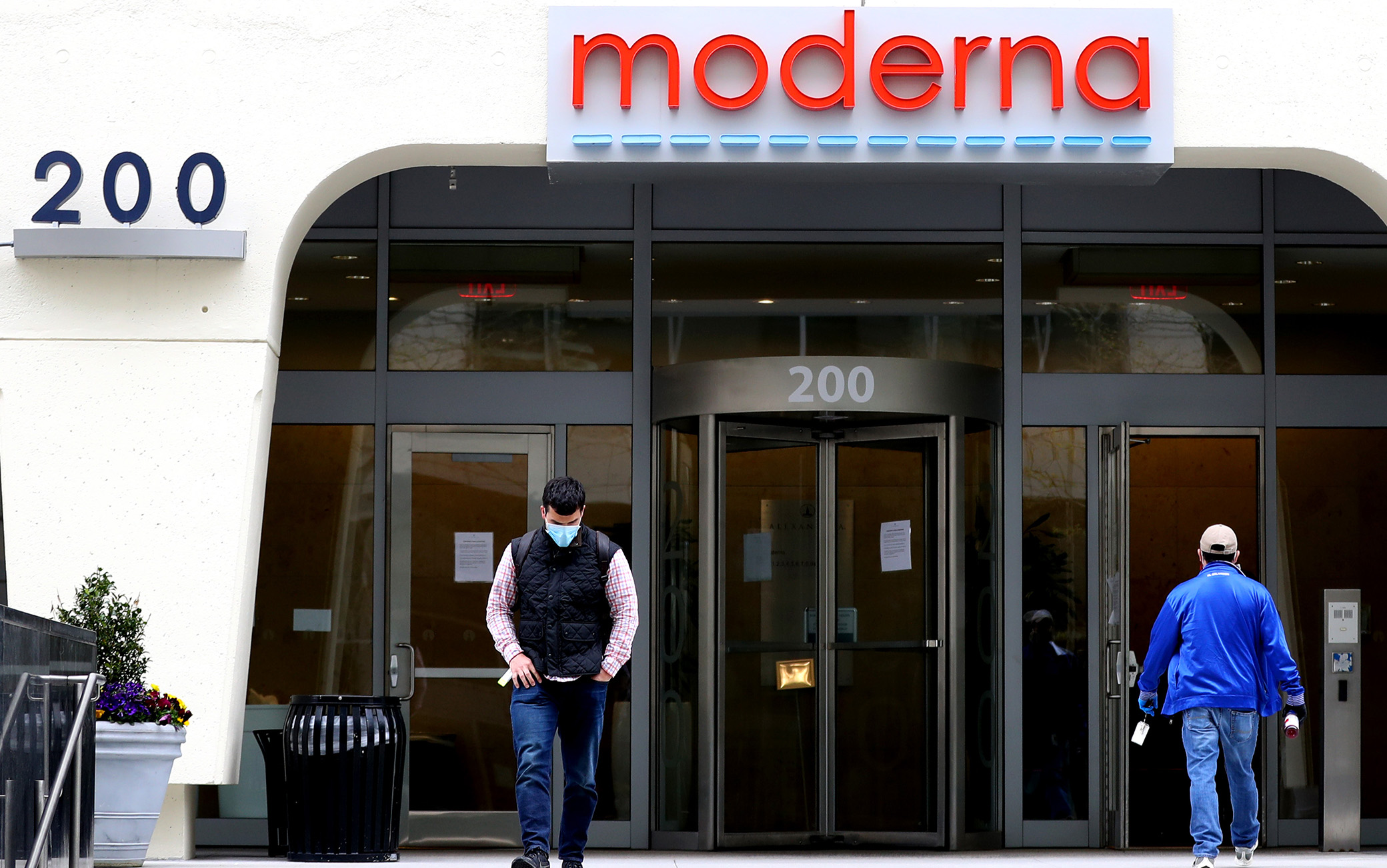 CAMBRIDGE, MASSACHUSETTS - MAY 08: A view of Moderna headquarters on May 08, 2020 in Cambridge, Massachusetts. Moderna was given FDA approval to continue to phase 2 of Coronavirus (COVID-19) vaccine trials with 600 participants.  (Photo by Maddie Meyer/Getty Images)