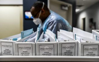 Biotechnology company Moderna protocol files for COVID-19 vaccinations are kept at the Research Centers of America in Hollywood, Florida, on August 13, 2020. (Photo by CHANDAN KHANNA / AFP) (Photo by CHANDAN KHANNA/AFP via Getty Images)