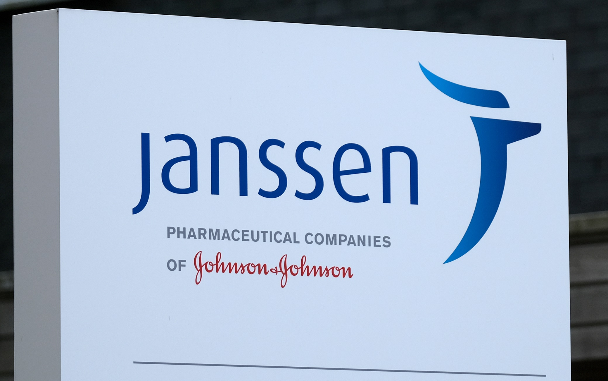 LEIDEN, NETHERLANDS - JUNE 9: A logo of Janssen Pharmaceutical Companies of Johnson & Johnson is pictured outside its facility on June 9, 2020 in Leiden, Netherlands.  (Photo by Yuriko Nakao/Getty Images)