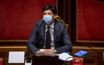 ROME, ITALY - JULY 28: Italian Minister of Health Roberto Speranza wearing a protective mask attends the debate at the Italian Senate about further initiatives related to the Covid-19 emergency, on July 28, 2020 in Rome, Italy. Today Italian Prime Minister Giuseppe Conte reported at the Italian Senate to ask to vote on the extension of the state of emergency related to the Covid-19 emergency. (Photo by Antonio Masiello/Getty Images)