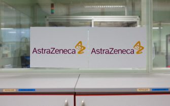 File photo dated January 20, 2020 of the AstraZeneca logo during a visit at the AstraZeneca factory in Dunkirk, northern France. AstraZeneca has paused all clinical trials of the Covid-19 vaccine it is developing with Oxford university after a participant in the UK arm of the study suffered a suspected serious adverse reaction. The UK-based drugmaker voluntarily put the trial on hold after the discovery of the sick participant. AstraZeneca said it was working to review the event to ensure it would not result in a significant delay to the study. Photo by Raphael Lafargue/ABACAPRESS.COM (Lafargue Raphael/ABACA / IPA/Fotogramma, Dunkirk - 2020-09-09) p.s. la foto e' utilizzabile nel rispetto del contesto in cui e' stata scattata, e senza intento diffamatorio del decoro delle persone rappresentate