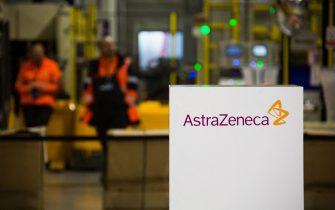 File photo dated January 20, 2020 of AstraZeneca logo during a visit at the AstraZeneca factory in Dunkirk, northern France. AstraZeneca has paused all clinical trials of the Covid-19 vaccine it is developing with Oxford university after a participant in the UK arm of the study suffered a suspected serious adverse reaction. The UK-based drugmaker voluntarily put the trial on hold after the discovery of the sick participant. AstraZeneca said it was working to review the event to ensure it would not result in a significant delay to the study. Photo by Raphael Lafargue/ABACAPRESS.COM (Lafargue Raphael/ABACA / IPA/Fotogramma, Dunkirk - 2020-09-09) p.s. la foto e' utilizzabile nel rispetto del contesto in cui e' stata scattata, e senza intento diffamatorio del decoro delle persone rappresentate