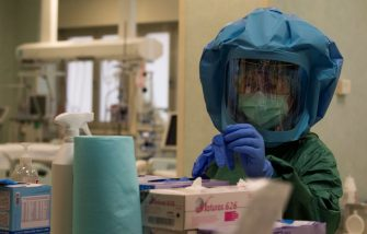 A health worker puts on her Personal Protective Equipment (PPE) before starting to work at the intensive care unit, treating COVID-19 patients, of the Tor vergata hospital in Rome, on May 12, 2020, as the country is under lockdown to stop the spread of the Covid-19 disease caused by the novel coronavirus. (Photo by Tiziana FABI / AFP) (Photo by TIZIANA FABI/AFP via Getty Images)