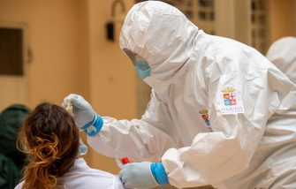 TEMPIO PAUSANIA, ITALY - MAY 21: An Italian Navy doctor administers a Covid-19 test inside a health facility in Sardinia on May 21, 2020 in Tempio Pausania, Italy. Italy has eased the lockdown due to the Covid-19 pandemic and many businesses are allowed to reopen after a severe sanification. (Photo by Emanuele Perrone/Getty Images)