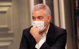 Il commissario all'emergenza Covid  Domenico Arcuri ospite della trasmissione di RAI1 'Porta a porta' condotta da Bruno Vespa, Roma, 17 Novembre 2020. ANSA/GIUSEPPE LAMI