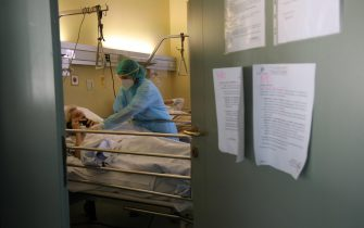 A nurse takes care of one of the patients in the Covid non-serious sector of the RSA (Residenze Sanitaria Assististici) of the Requested Foundation of Gussago detachment of the civilian of Brescia, Italy, 14 April 2020. Countries around the world are taking measures to stem the widespread of the SARS-CoV-2 coronavirus which causes the COVID-19 disease. Ansa Filippo Venezia