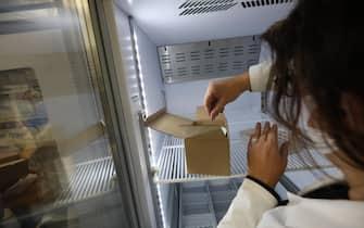 La distribuzione e lo stoccaggio del vaccino Pfizer-Biontech contro il Covid-19 all'interno del polo vaccinale del Policlinico Universitario Mater Domini a Catanzaro, 27 dicembre 2020. ANSA/Salvatore Monteverde