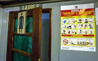 June 14, 2019 - Goma, North Kivu, Democratic Republic of Congo - An Ebola placard at Beni airport warns passengers of the symptoms of Ebola in Goma..DR Congo is currently experiencing the second worst Ebola outbreak in recorded history. More than 1,400 people have died. (Credit Image: © Sally Hayden/SOPA Images via ZUMA Wire)