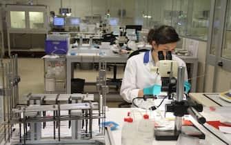 Una ricercatrice in un laboratorio