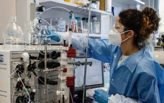 Researchers at work in the ReiThera's laboratories , company is working on second phase of the anti-Covid vaccine named ''GRAd-CoV2'', Castel Romano, outskirts of Rome, on 8 Jannuary 2021. ANSA/FABIO FRUSTACI