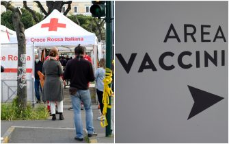 Persone in coda attendono il proprio turno per la vaccinazione