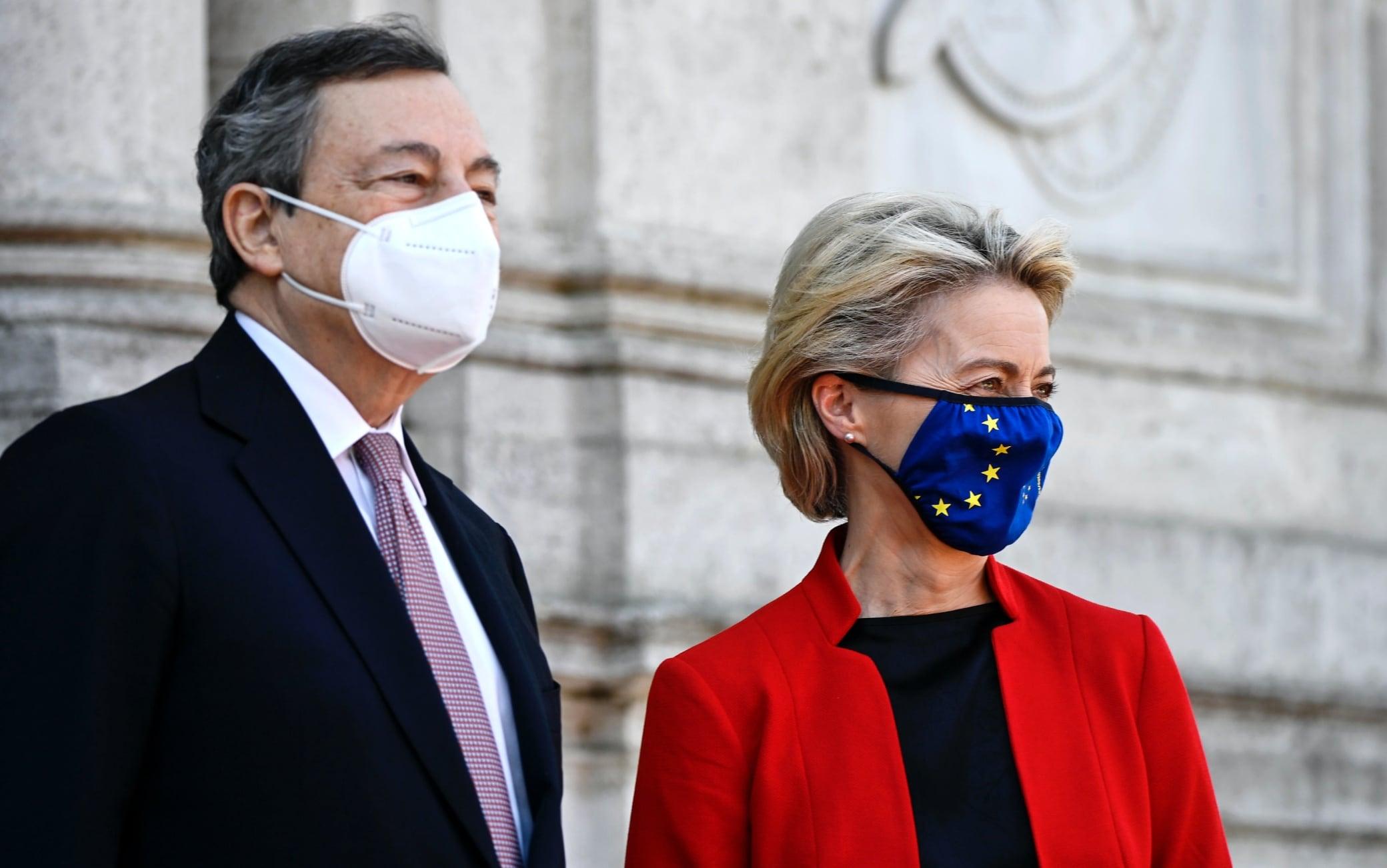 Mario Draghi e Ursula von der Leyen al Global Health Summit a Roma