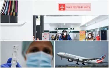 """In alto, insegna """"voli covid-tested"""" a Malpensa. In basso a sinistra: un tampone antigenico. In basso a destra: un volo dell'American Airlines"""