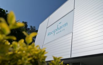 A picture taken in Monts, central France, on April 22, 2021 shows the entrance of the pharmaceutical plant Recipharm, chosen by the American biotech Moderna to produce part of its candidate vaccine against Covid-19 in France. (Photo by GUILLAUME SOUVANT / AFP) (Photo by GUILLAUME SOUVANT/AFP via Getty Images)