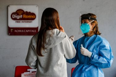 """Some students of the """"Pallavicini"""" Institute participate in the campaign for salivary tests in schools launched by the Lazio Region, Rome, Italy, 14 September 2021.   ANSA/FABIO FRUSTACI"""