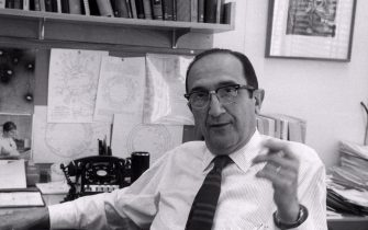 Salvador Luria in his office at MIT in Boston 1967. Salvador Edward Luria (1912 - 1991) Italian genetics researcher and microbiologist, later a naturalized American citizen. He won the Nobel Prize in Physiology or Medicine in 1969. (Photo by: Photo12/Universal Images Group via Getty Images)