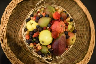 A basket of fruit is displayed to be judged on the first day of the Harrogate Autumn Flower Show held at the Great Yorkshire Showground, in Harrogate, northern England, on September 15, 2017. / AFP PHOTO / OLI SCARFF        (Photo credit should read OLI SCARFF/AFP via Getty Images)