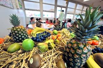 Des enfants d'une classe maternelle mangent des fruits, le 28 novembre 2008 à Hérouville-Saint-Clair. Les pays européens vont à partir de la rentrée scolaire 2009-2012 distribuer une fois par semaine des fruits et légumes aux enfants dans les écoles pour lutter contre les mauvaises habitudes alimentaires et l'obésité.  AFP  PHOTO   MYCHELE DANIAU / AFP PHOTO / MYCHELE DANIAU        (Photo credit should read MYCHELE DANIAU/AFP via Getty Images)