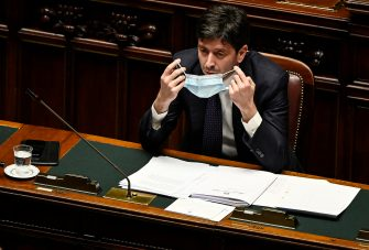 Roberto Speranza, minister of Health, delivers a speech at the Chamber of Deputies to illustrate the new Council of MinisterÃ?s decree about anti Covid measures, Rome, Italy, 14 July 2020. ANSA/RICCARDO ANTIMIANI