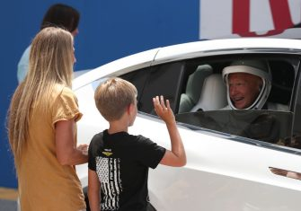 CAPE CANAVERAL, FLORIDA - MAY 30: NASA astronaut Doug Hurley say goodbye to his wife Karen Nyberg and son Jack after walking out of the Operations and Checkout Building on their way to the SpaceX Falcon 9 rocket with the Crew Dragon spacecraft on launch pad 39A at the Kennedy Space Center on May 30, 2020 in Cape Canaveral, Florida. The inaugural flight will be the first manned mission since the end of the Space Shuttle program in 2011 to be launched into space from the United States. (Photo by Joe Raedle/Getty Images)