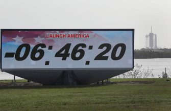 CAPE CANAVERAL, FLORIDA - MAY 30: The countdown clock is seen as the SpaceX Falcon 9 rocket with the Crew Dragon spacecraft attached sits on launch pad 39A at the Kennedy Space Center on May 25, 2020 in Cape Canaveral, Florida. After scrubbing the first attempt at launch NASA astronauts Bob Behnken and Doug Hurley are scheduled to try again today and, if successful, would be the first people since the end of the Space Shuttle program in 2011 to be launched into space from the United States. (Photo by Joe Raedle/Getty Images)