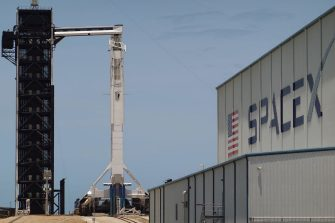 CAPE CANAVERAL, FLORIDA - MAY 29: The SpaceX Falcon 9 rocket with the Crew Dragon spacecraft attached is seen on launch pad 39A at the Kennedy Space Center on May 29, 2020 in Cape Canaveral, Florida. After scrubbing the first attempt at launch NASA astronauts Bob Behnken and Doug Hurley are scheduled to try again on Saturday and if successful would be the first people since the end of the Space Shuttle program in 2011 to be launched into space from the United States. (Photo by Joe Raedle/Getty Images)