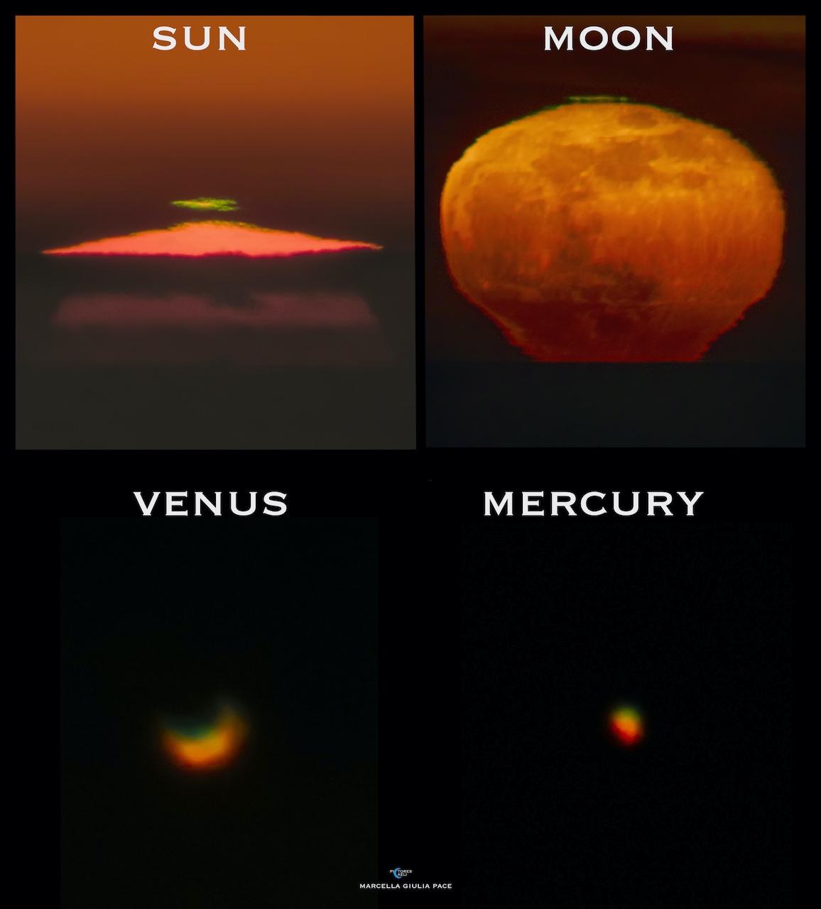 """Green Flashes: Sun, Moon, Venus, Mercury"" - Marcella Giulia Pace"