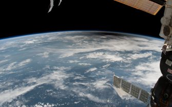 IN SPACE - AUGUST 21: In this NASA handout, the umbra, or moon's shadow, passes over Earth during the total eclipse Monday, August 21, 2017. Viewing the eclipse from orbit were NASA's Randy Bresnik, Jack Fischer and Peggy Whitson, ESA (European Space Agency's) Paolo Nespoli, and Roscosmos Commander Fyodor Yurchikhin and Sergey Ryazanskiy. The space station crossed the path of the eclipse three times as it orbited above the continental United States at an altitude of 250 miles. (Photo by NASA via Getty Images)