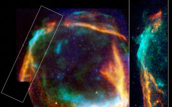 Paris, FRANCE:  This combined image from the Chandra and XMM-Newton X-ray observatories of RCW 86 released 18 September 2006 by the European Space Agency (ESA) shows the expanding ring of debris that was created after a massive star in the Milky Way collapsed onto itself and exploded. Both the XMM-Newton and Chandra images show low energy X-rays in red, medium energies in green and high energies in blue. The Chandra observations focused on the northeast (left-hand) side of RCW 86, and show that X-ray radiation is produced both by high-energy electrons accelerated in a magnetic field (blue) as well as heat from the blast itself (red). AFP PHOTO / ESA/XMM, NASA/CXC, University of Utrecht  (Photo credit should read -/AFP via Getty Images)