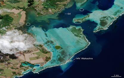 Mauritius, le immagini del disastro ambientale dai satelliti. FOTO