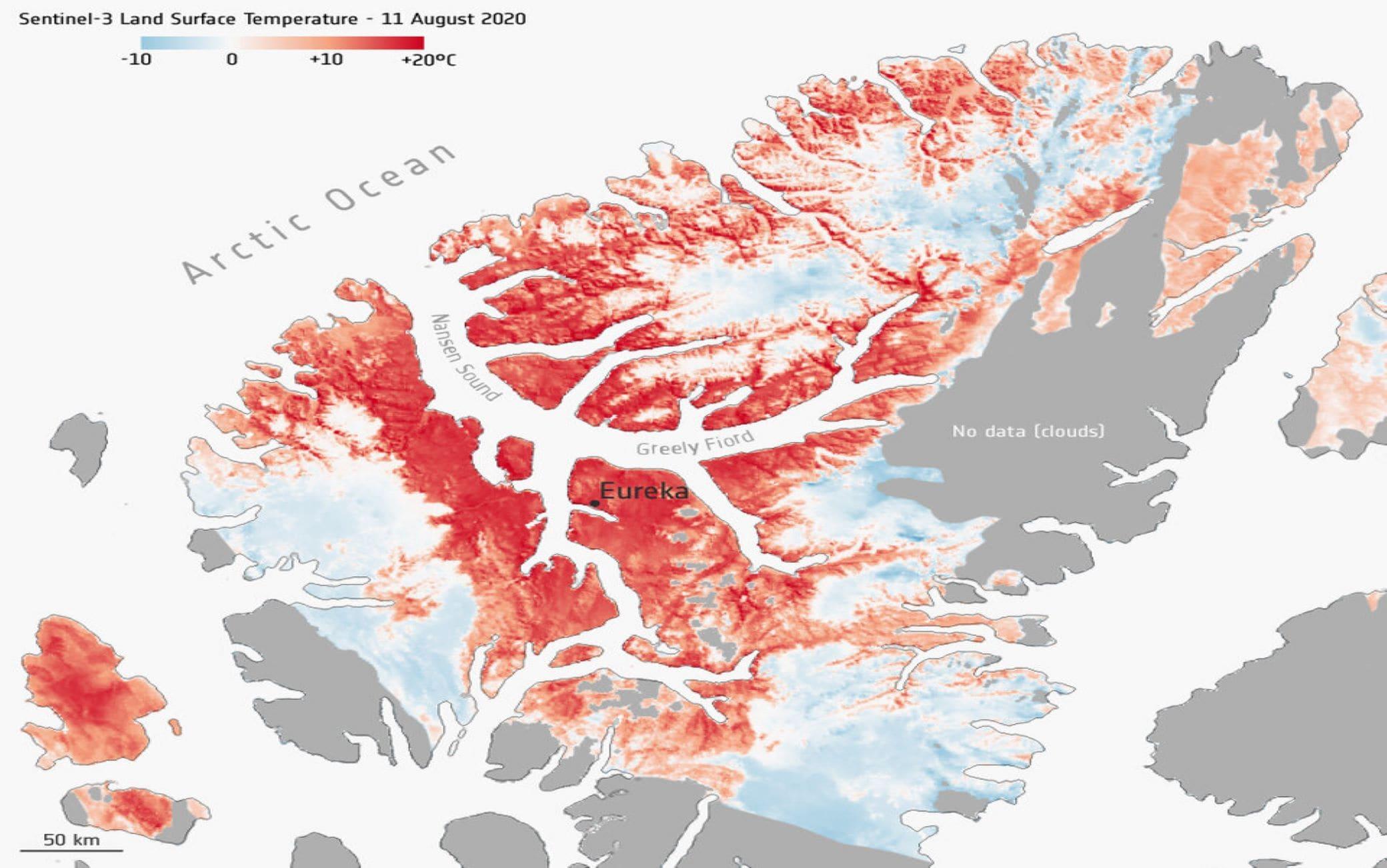 La mappa ottenuta dai rilevamenti dei satelliti sull'Artico