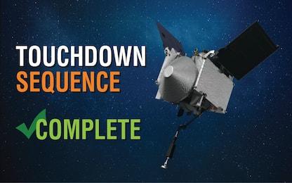 Nasa, missione compiuta: sonda Osiris-Rex ha toccato l'asteroide Bennu