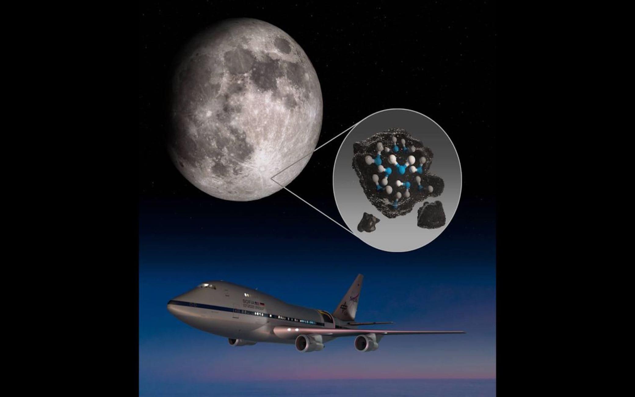 Illustrazione che evidenzia il cratere Clavius della Luna e l'acqua intrappolata nel suolo lunare insieme ad un'immagine dell'Osservatorio stratosferico per l'astronomia a infrarossi della Nasa (SOFIA)