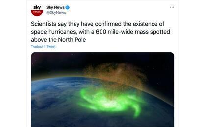 Scoperto per la prima volta un uragano spaziale sopra il Polo Nord