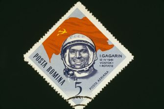 A 5 bani postage stamp from Romania, featuring Russian cosmonaut Yuri Gagarin (1934 - 1968), circa 1961. Gagarin became the first man in space when he orbited the Earth in a Vostok spacecraft on 12th April 1961.  (Photo by Blank Archives/Archive Photos/Getty Images)