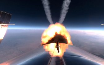epaselect epa09338179 A handout photo made available by Virgin Galatic showing a rocket burn in space on SpaceShip Two Unity 22 during their flight after take off from Spaceport America, New Mexico, USA, 11 July 2021.  EPA/VIRGIN GALACTIC / HANDOUT HANDOUT  HANDOUT EDITORIAL USE ONLY/NO SALES
