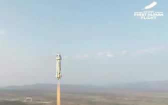 La New Shepard nella fase di decollo